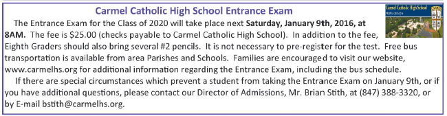 Carmel HS Entrance Exam
